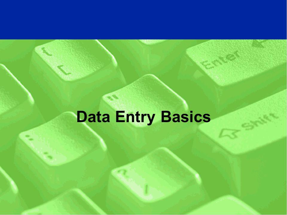 Data Entry Basics
