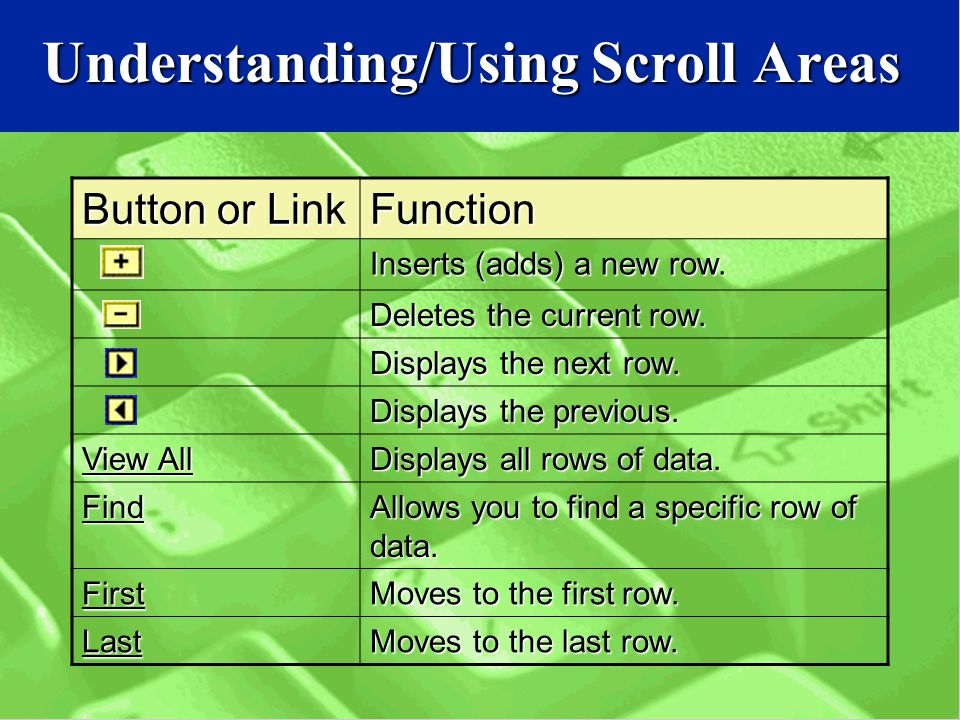 Understanding/Using Scroll Areas Button or Link Function Inserts (adds) a new row.