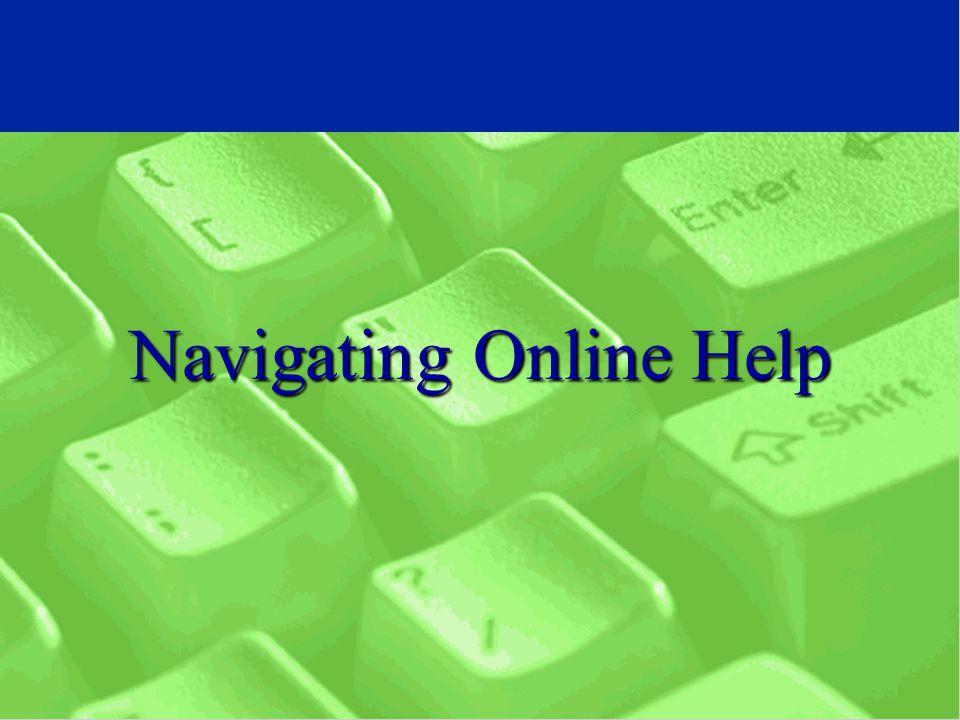 Navigating Online Help