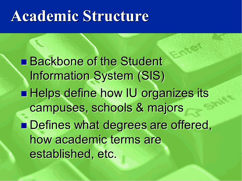 Backbone of the Student Information System (SIS) Backbone of the Student Information System (SIS) Helps define how IU organizes its campuses, schools & majors Helps define how IU organizes its campuses, schools & majors Defines what degrees are offered, how academic terms are established, etc.