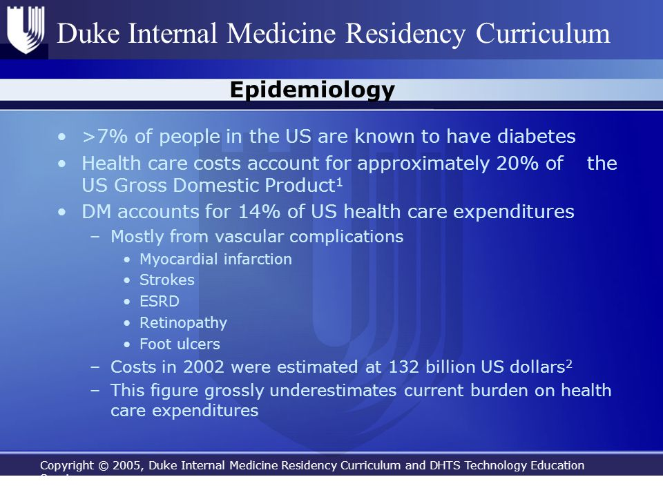 Copyright © 2005, Duke Internal Medicine Residency Curriculum and DHTS Technology Education Services Duke Internal Medicine Residency Curriculum Epide