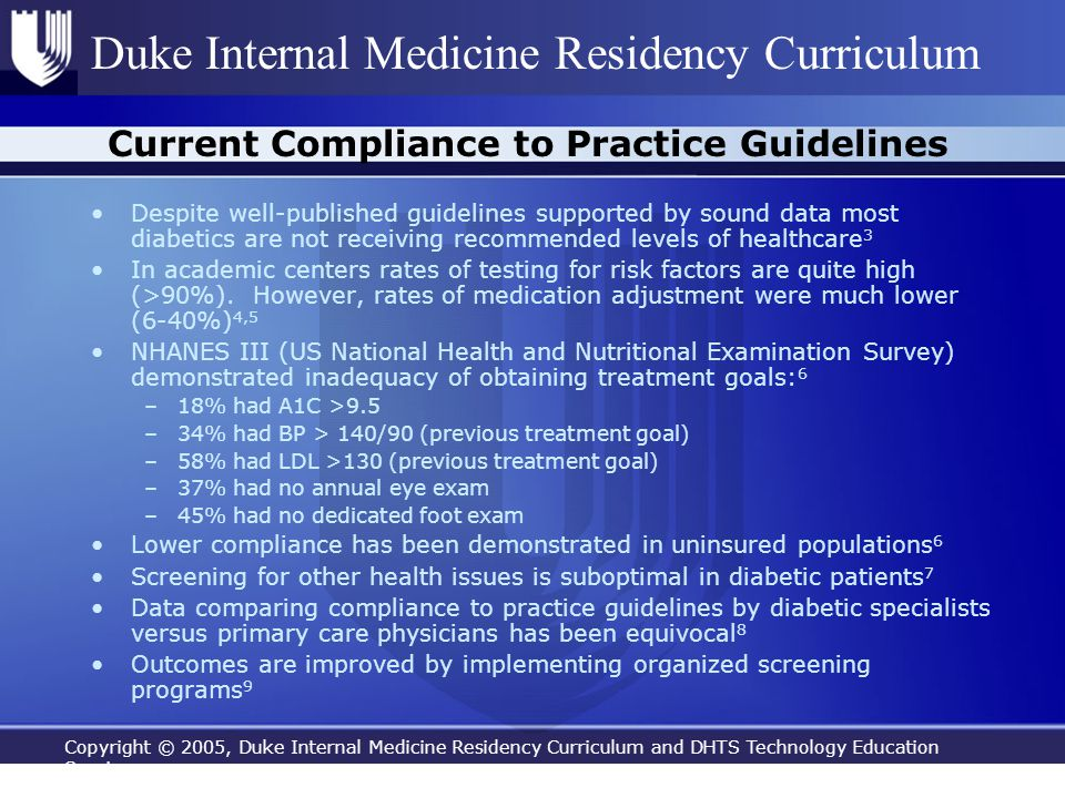 Copyright © 2005, Duke Internal Medicine Residency Curriculum and DHTS Technology Education Services Duke Internal Medicine Residency Curriculum Curre