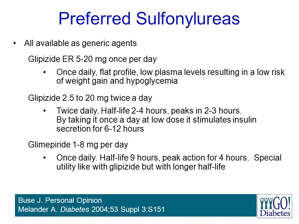 Preferred Sulfonylureas All available as generic agents Glipizide ER 5-20 mg once per day Once daily, flat profile, low plasma levels resulting in a l