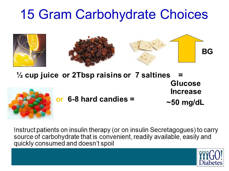 15 Gram Carbohydrate Choices ½ cup juice or 2Tbsp raisins or 7 saltines = Glucose Increase ~50 mg/dL BG or 6-8 hard candies = Instruct patients on ins
