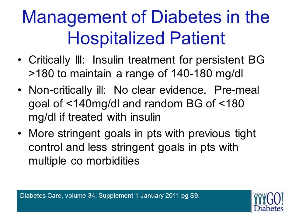 Management of Diabetes in the Hospitalized Patient Critically Ill: Insulin treatment for persistent BG >180 to maintain a range of 140-180 mg/dl Non-c