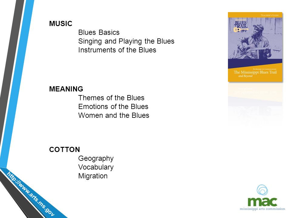 http://www.arts.ms.gov MUSIC Blues Basics Singing and Playing the Blues Instruments of the Blues MEANING Themes of the Blues Emotions of the Blues Women and the Blues COTTON Geography Vocabulary Migration