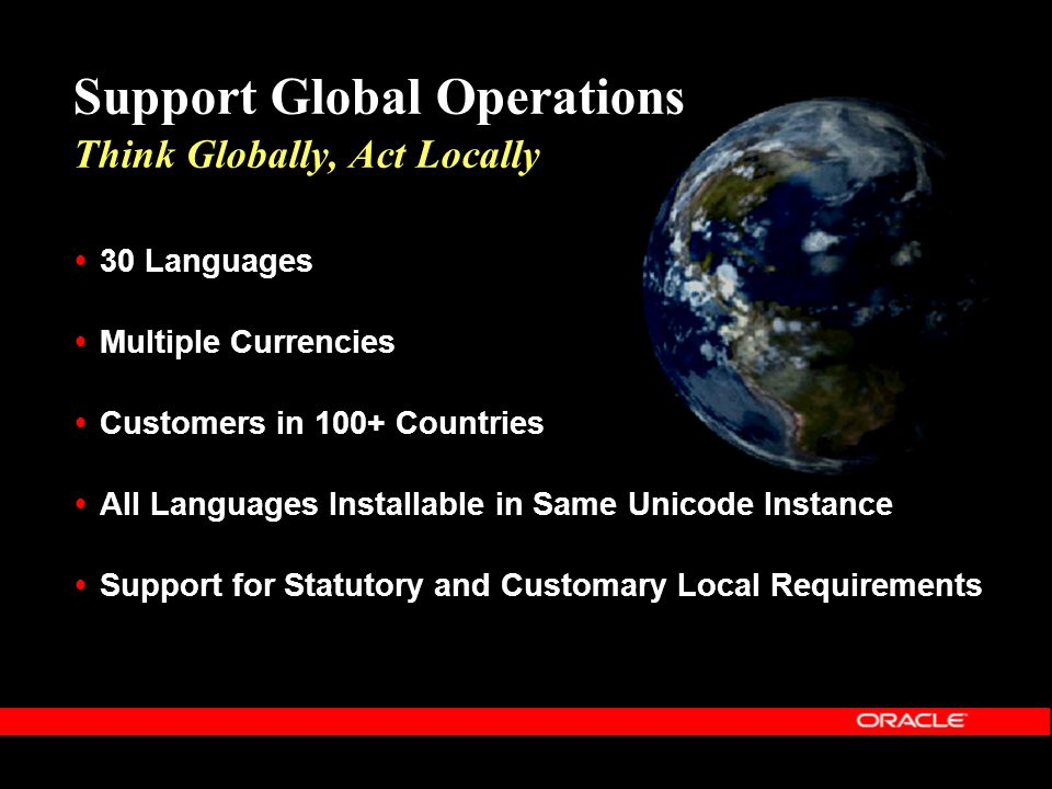  30 Languages  Multiple Currencies  Customers in 100+ Countries  All Languages Installable in Same Unicode Instance  Support for Statutory and Cu