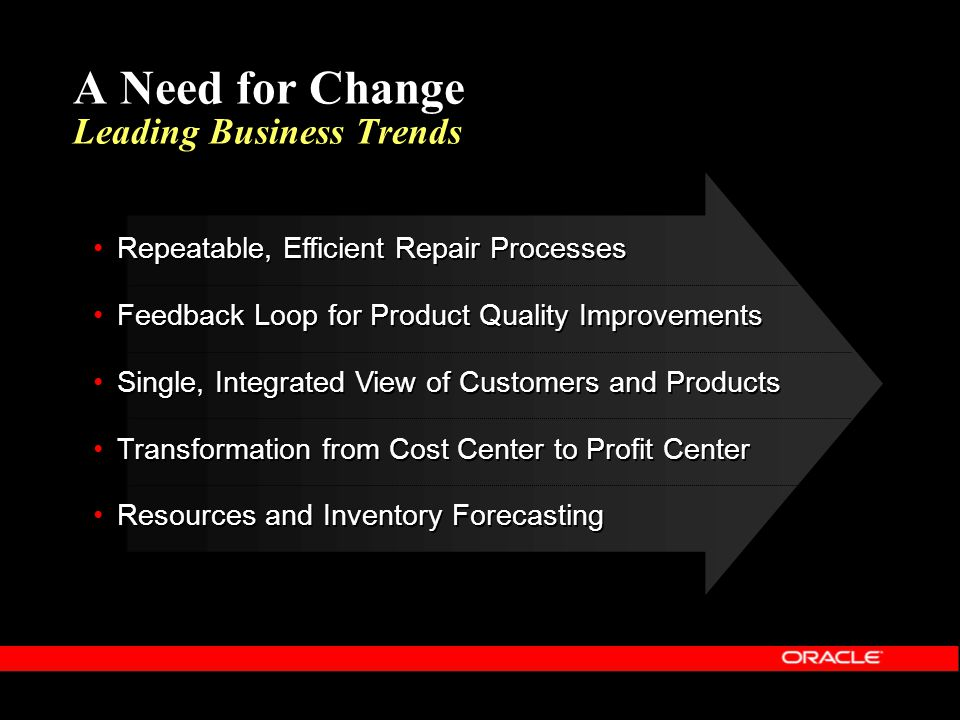 Oracle Depot Repair Solution Enables You To…  Improve Customer Interactions  Support Multiple Repair Flows  Execute Efficient and Quality Repairs  Streamline Repair Logistics and Invoicing  Improve Customer Interactions  Support Multiple Repair Flows  Execute Efficient and Quality Repairs  Streamline Repair Logistics and Invoicing
