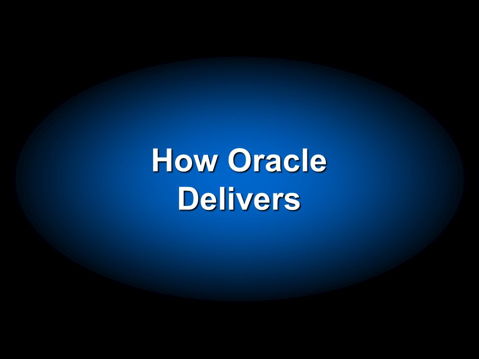 Oracle: Complete E-Business Suite Automate Key Internal Business Processes Extend Automation to and Collaborate with Your Trading Partners Drive Continuous Improvement with Real-Time Intelligence Customers,Suppliers, Products, … Develop Market Sell Order Plan Procure Make Fulfill Service Maintain Finance HR Projects Contracts