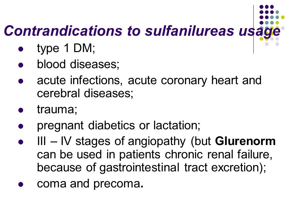 Contrandications to sulfanilureas usage type 1 DM; blood diseases; acute infections, acute coronary heart and cerebral diseases; trauma; pregnant diab