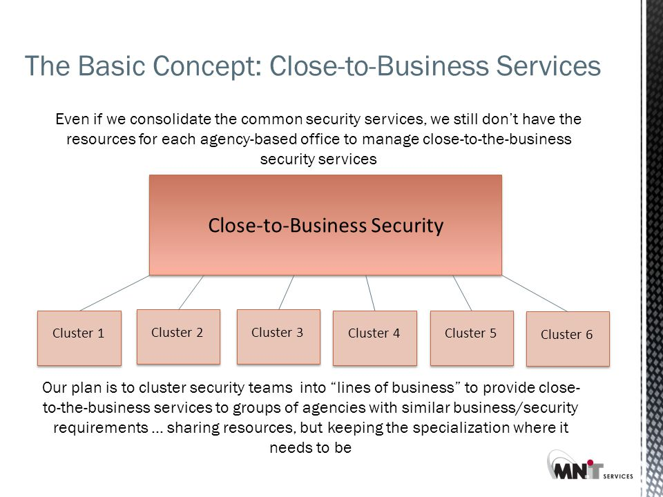 Close-to-Business Security Even if we consolidate the common security services, we still don't have the resources for each agency-based office to manage close-to-the-business security services Cluster 1 Cluster 2 Cluster 3 Cluster 4 Cluster 5 Cluster 6 Our plan is to cluster security teams into lines of business to provide close- to-the-business services to groups of agencies with similar business/security requirements … sharing resources, but keeping the specialization where it needs to be The Basic Concept: Close-to-Business Services