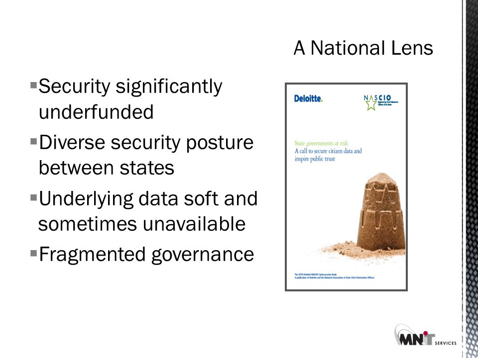  Security significantly underfunded  Diverse security posture between states  Underlying data soft and sometimes unavailable  Fragmented governance
