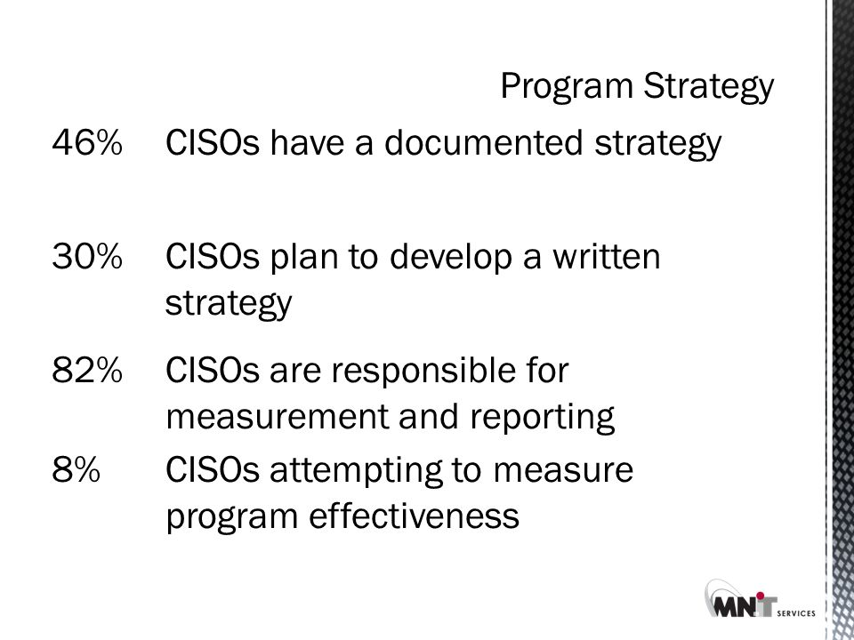 46%CISOs have a documented strategy30%CISOs plan to develop a written strategy 82%CISOs are responsible for measurement and reporting 8%CISOs attempting to measure program effectiveness