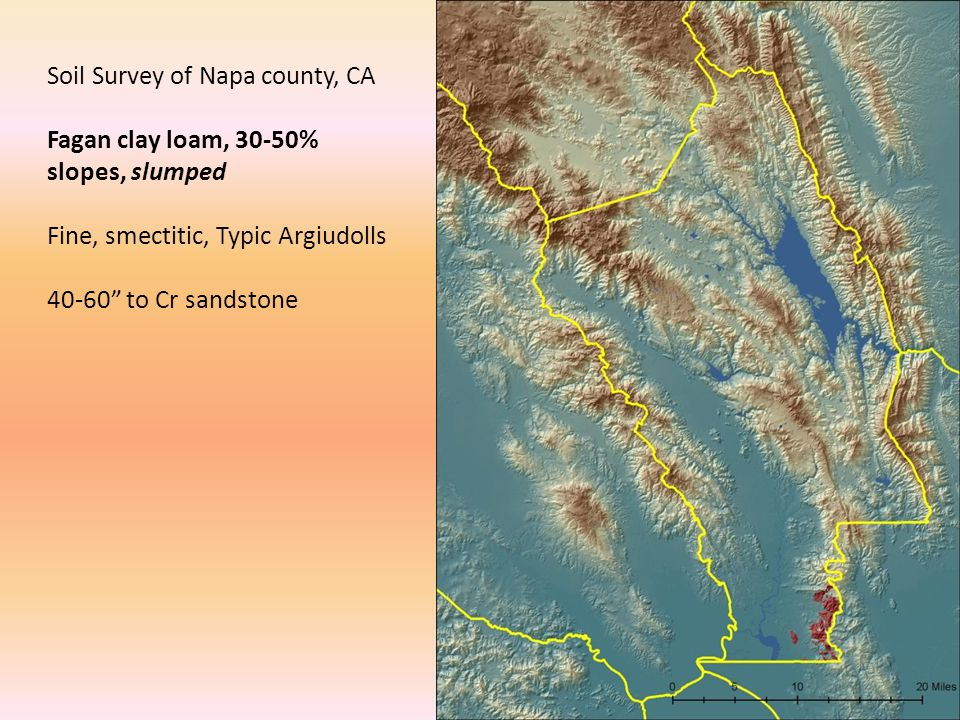 "Soil Survey of Napa county, CA Fagan clay loam, 30-50% slopes, slumped Fine, smectitic, Typic Argiudolls 40-60"" to Cr sandstone"
