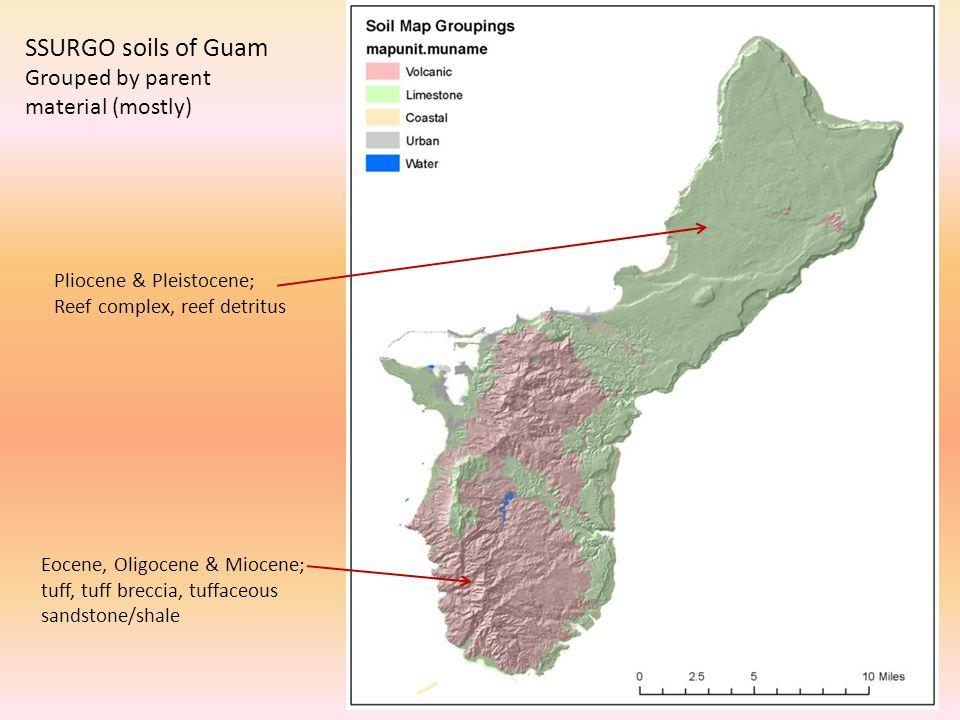 Eocene, Oligocene & Miocene; tuff, tuff breccia, tuffaceous sandstone/shale Pliocene & Pleistocene; Reef complex, reef detritus SSURGO soils of Guam Grouped by parent material (mostly)