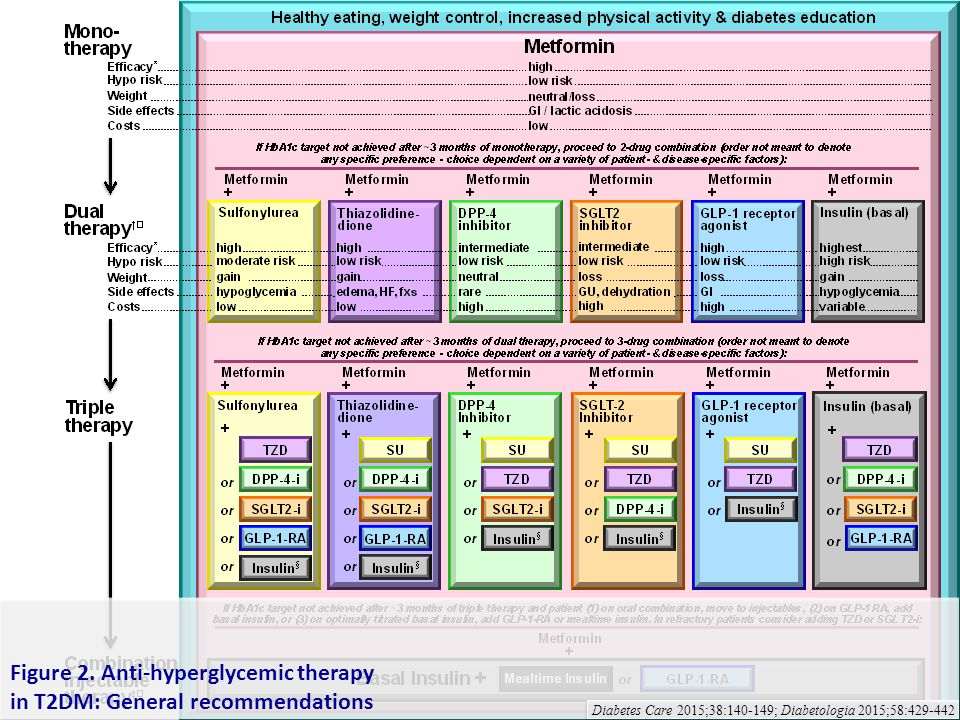 Figure 2. Anti-hyperglycemic therapy in T2DM: General recommendations Diabetes Care 2015;38:140-149; Diabetologia 2015;58:429-442