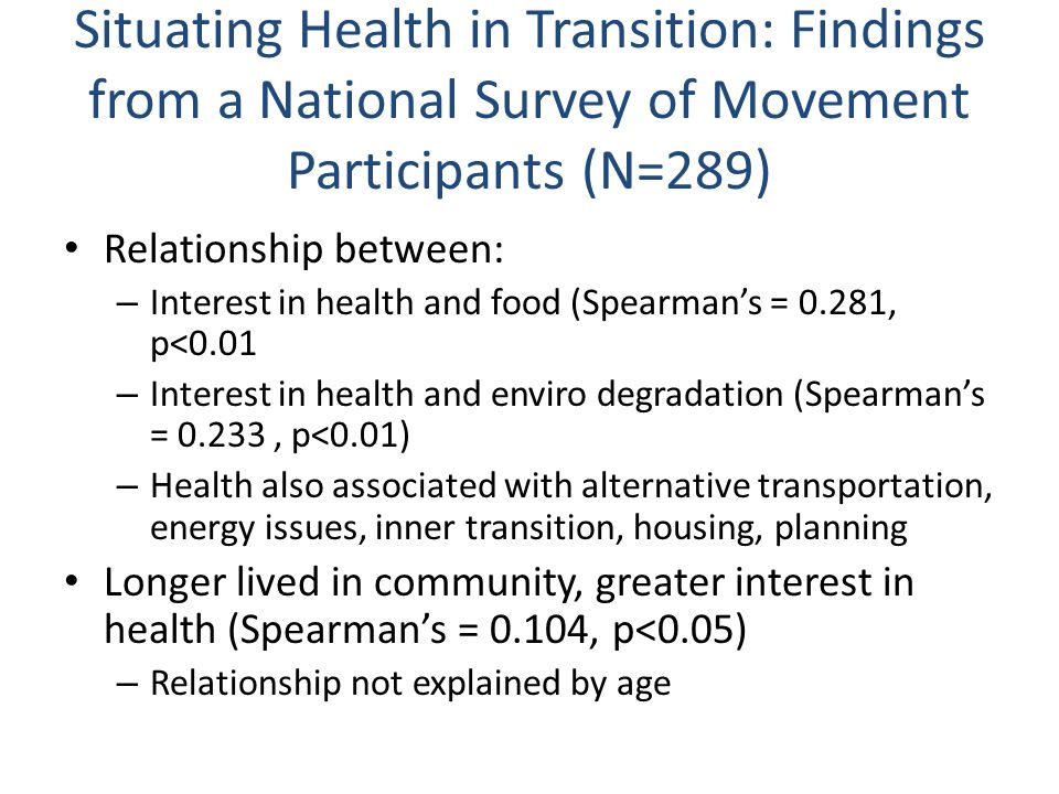 Situating Health in Transition: Findings from a National Survey of Movement Participants (N=289) Relationship between: – Interest in health and food (Spearman's = 0.281, p<0.01 – Interest in health and enviro degradation (Spearman's = 0.233, p<0.01) – Health also associated with alternative transportation, energy issues, inner transition, housing, planning Longer lived in community, greater interest in health (Spearman's = 0.104, p<0.05) – Relationship not explained by age