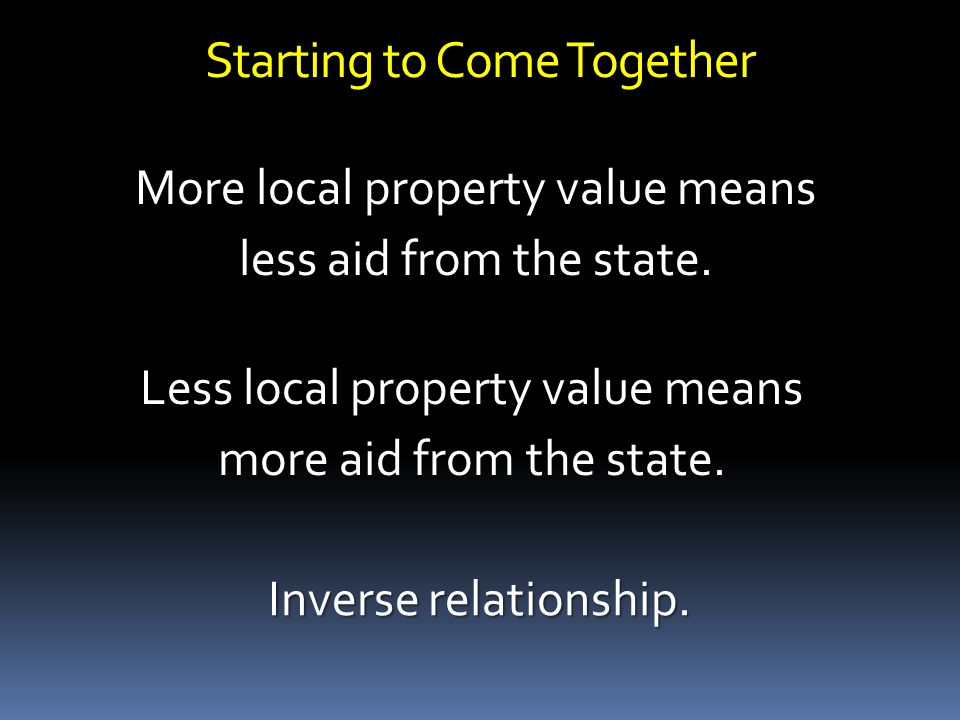 Starting to Come Together More local property value means less aid from the state.
