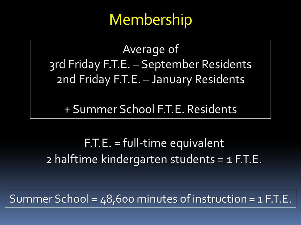 Membership F.T.E. = full-time equivalent 2 halftime kindergarten students = 1 F.T.E.