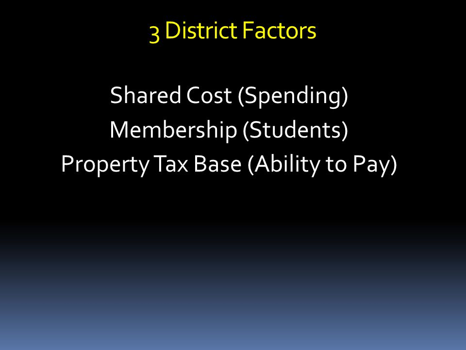 3 District Factors Shared Cost (Spending) Membership (Students) Property Tax Base (Ability to Pay)