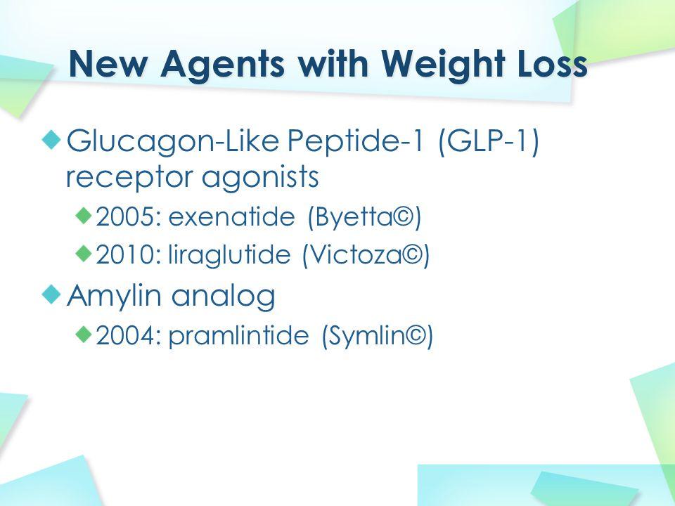 Glucagon-Like Peptide-1 (GLP-1) receptor agonists 2005: exenatide (Byetta©) 2010: liraglutide (Victoza©) Amylin analog 2004: pramlintide (Symlin©)