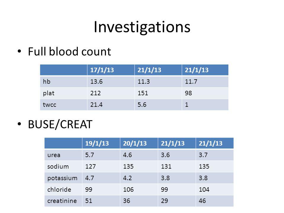 Investigations Full blood count BUSE/CREAT 17/1/1321/1/13 hb13.611.311.7 plat21215198 twcc21.45.61 19/1/1320/1/1321/1/13 urea5.74.63.63.7 sodium127135