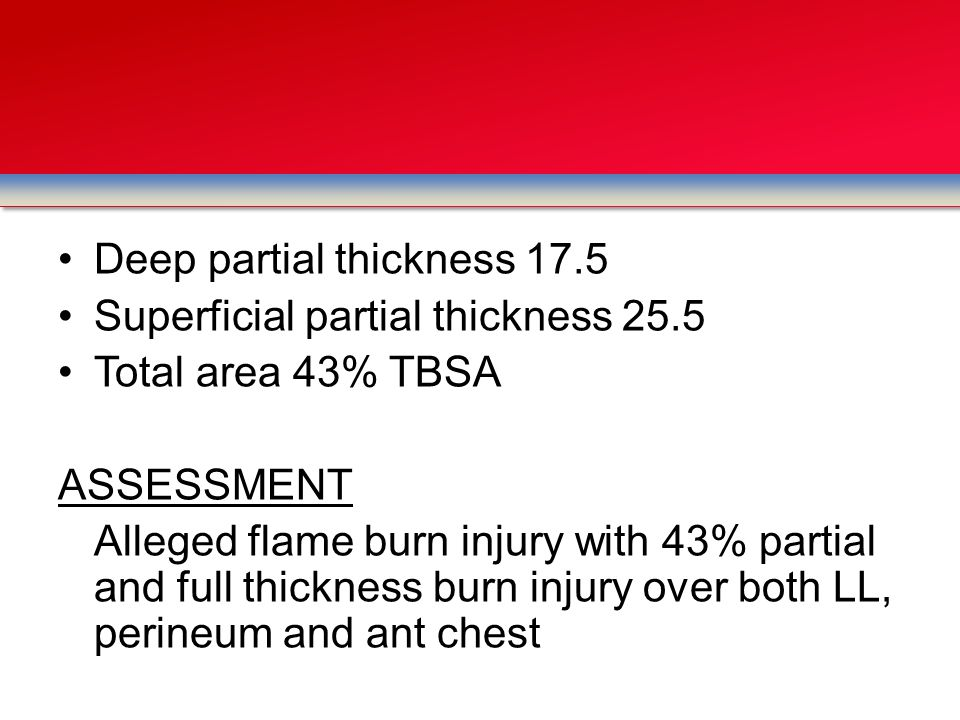 Deep partial thickness 17.5 Superficial partial thickness 25.5 Total area 43% TBSA ASSESSMENT Alleged flame burn injury with 43% partial and full thic
