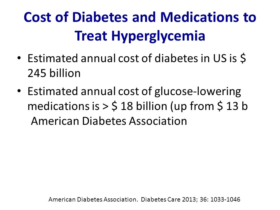 Cost of Diabetes and Medications to Treat Hyperglycemia Estimated annual cost of diabetes in US is $ 245 billion Estimated annual cost of glucose-lowering medications is > $ 18 billion (up from $ 13 b American Diabetes Association American Diabetes Association.