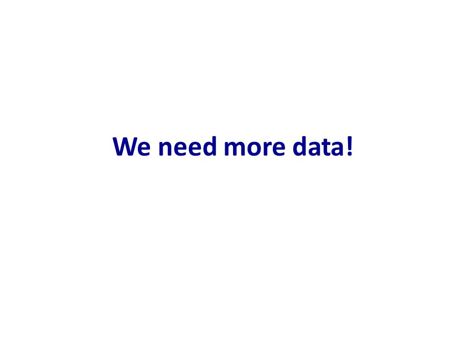 We need more data!