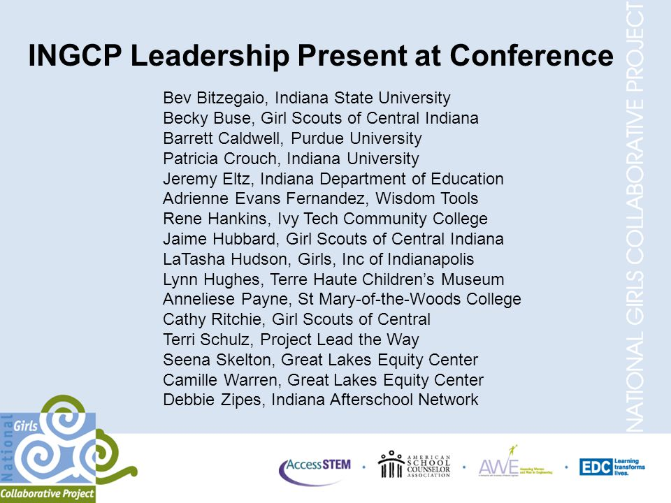 INGCP Leadership Present at Conference Bev Bitzegaio, Indiana State University Becky Buse, Girl Scouts of Central Indiana Barrett Caldwell, Purdue University Patricia Crouch, Indiana University Jeremy Eltz, Indiana Department of Education Adrienne Evans Fernandez, Wisdom Tools Rene Hankins, Ivy Tech Community College Jaime Hubbard, Girl Scouts of Central Indiana LaTasha Hudson, Girls, Inc of Indianapolis Lynn Hughes, Terre Haute Children's Museum Anneliese Payne, St Mary-of-the-Woods College Cathy Ritchie, Girl Scouts of Central Terri Schulz, Project Lead the Way Seena Skelton, Great Lakes Equity Center Camille Warren, Great Lakes Equity Center Debbie Zipes, Indiana Afterschool Network