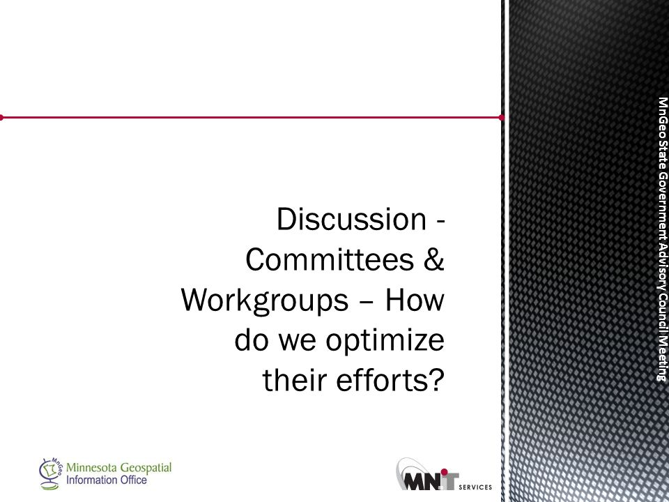 MnGeo State Government Advisory Council Meeting Discussion - Committees & Workgroups – How do we optimize their efforts