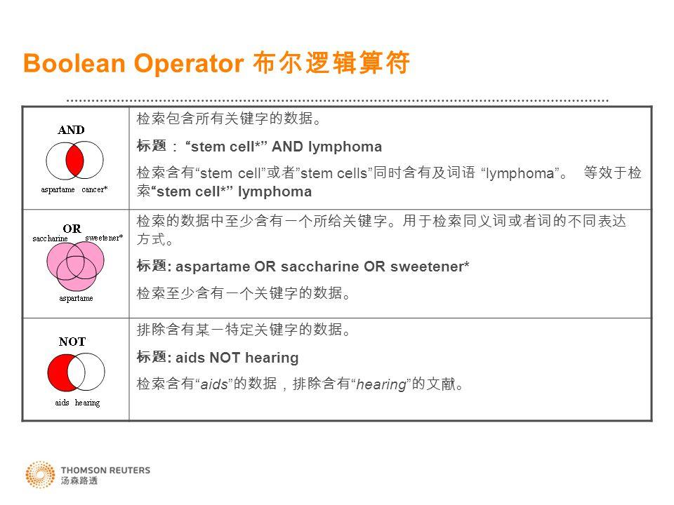 Boolean Operator 布尔逻辑算符 检索包含所有关键字的数据。 标题: stem cell* AND lymphoma 检索含有 stem cell 或者 stem cells 同时含有及词语 lymphoma 。 等效于检 索 stem cell* lymphoma 检索的数据中至少含有一个所给关键字。用于检索同义词或者词的不同表达 方式。 标题 : aspartame OR saccharine OR sweetener* 检索至少含有一个关键字的数据。 排除含有某一特定关键字的数据。 标题 : aids NOT hearing 检索含有 aids 的数据,排除含有 hearing 的文献。