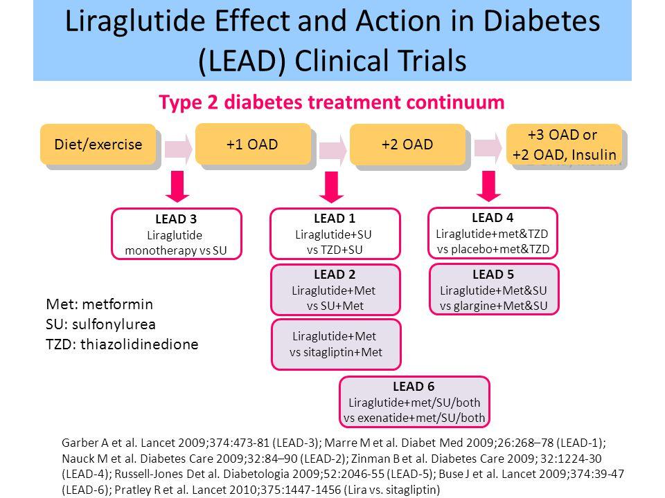 Garber A et al. Lancet 2009;374:473-81 (LEAD-3); Marre M et al. Diabet Med 2009;26:268–78 (LEAD-1); Nauck M et al. Diabetes Care 2009;32:84–90 (LEAD-2