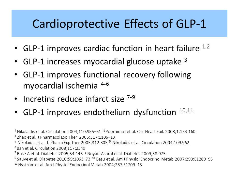 Cardioprotective Effects of GLP-1 GLP-1 improves cardiac function in heart failure 1,2 GLP-1 increases myocardial glucose uptake 3 GLP-1 improves func
