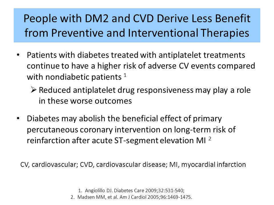 People with DM2 and CVD Derive Less Benefit from Preventive and Interventional Therapies Patients with diabetes treated with antiplatelet treatments c