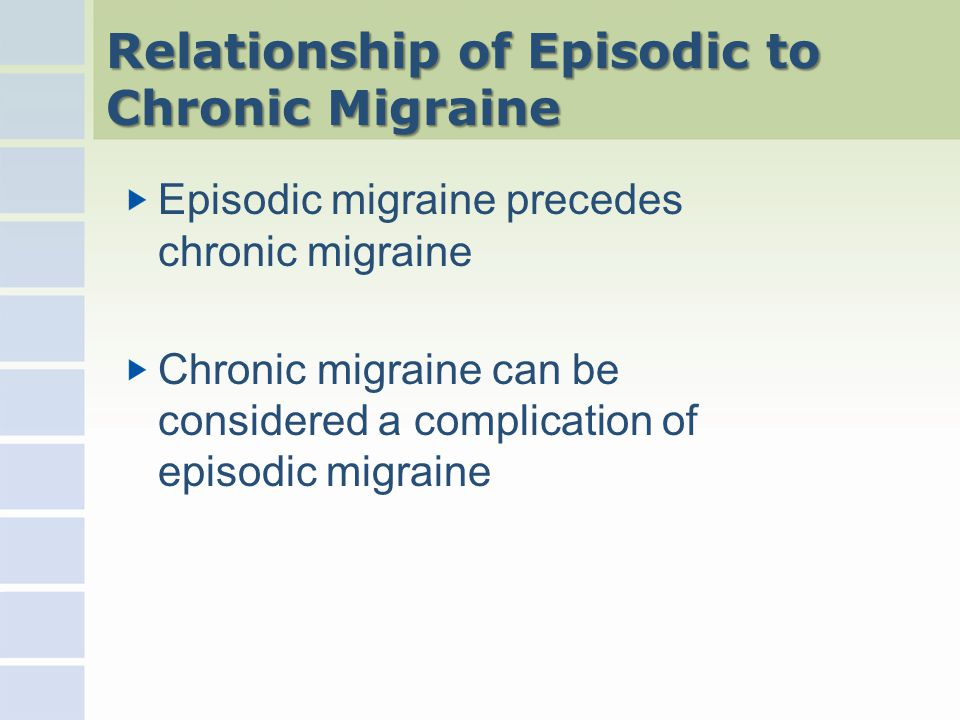 Relationship of Episodic to Chronic Migraine Episodic migraine precedes chronic migraine Chronic migraine can be considered a complication of episodic migraine