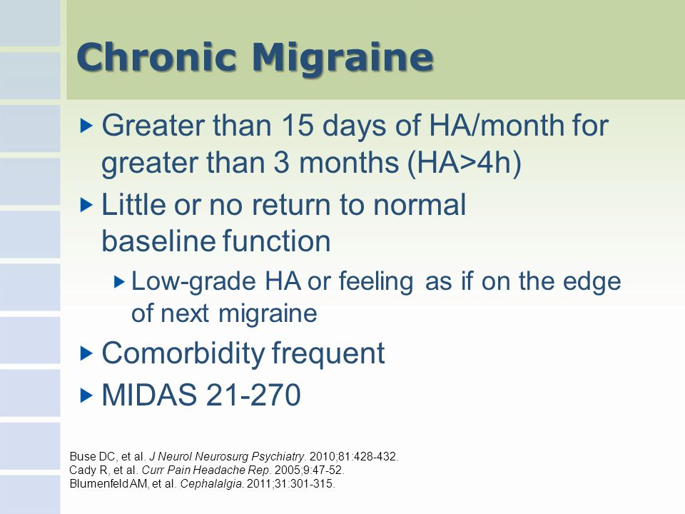 Chronic Migraine Greater than 15 days of HA/month for greater than 3 months (HA>4h) Little or no return to normal baseline function Low-grade HA or feeling as if on the edge of next migraine Comorbidity frequent MIDAS 21-270 Buse DC, et al.