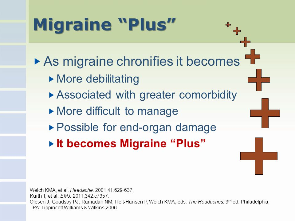 Migraine Plus As migraine chronifies it becomes More debilitating Associated with greater comorbidity More difficult to manage Possible for end-organ damage It becomes Migraine Plus Welch KMA, et al.