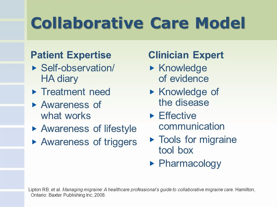 Collaborative Care Model Patient Expertise Self-observation/ HA diary Treatment need Awareness of what works Awareness of lifestyle Awareness of triggers Clinician Expert Knowledge of evidence Knowledge of the disease Effective communication Tools for migraine tool box Pharmacology Lipton RB, et al.