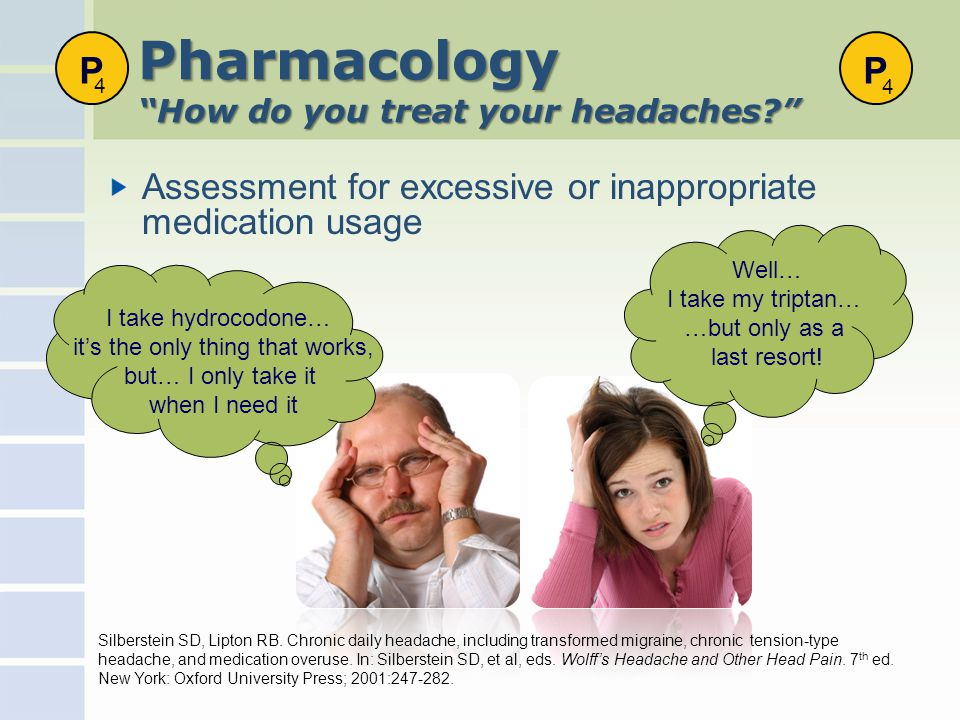 Pharmacology How do you treat your headaches Assessment for excessive or inappropriate medication usage Silberstein SD, Lipton RB.