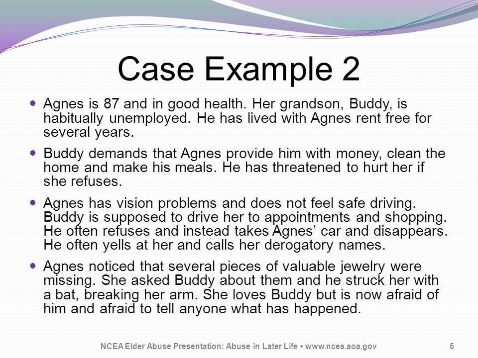 Case Example 2 Agnes is 87 and in good health. Her grandson, Buddy, is habitually unemployed.