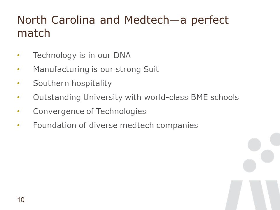 10 North Carolina and Medtech—a perfect match Technology is in our DNA Manufacturing is our strong Suit Southern hospitality Outstanding University wi