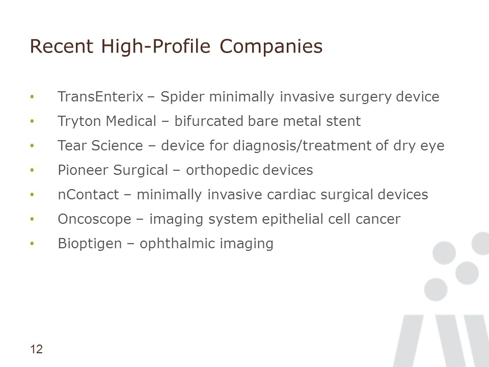 12 Recent High-Profile Companies TransEnterix – Spider minimally invasive surgery device Tryton Medical – bifurcated bare metal stent Tear Science – d