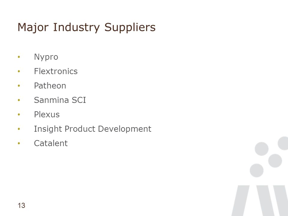 13 Major Industry Suppliers Nypro Flextronics Patheon Sanmina SCI Plexus Insight Product Development Catalent
