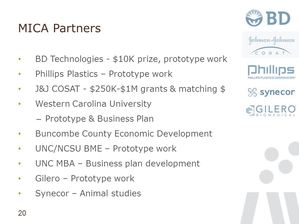 20 MICA Partners BD Technologies - $10K prize, prototype work Phillips Plastics – Prototype work J&J COSAT - $250K-$1M grants & matching $ Western Car