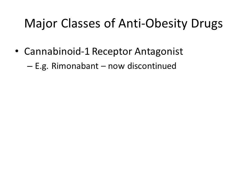 Major Classes of Anti-Obesity Drugs Cannabinoid-1 Receptor Antagonist – E.g.
