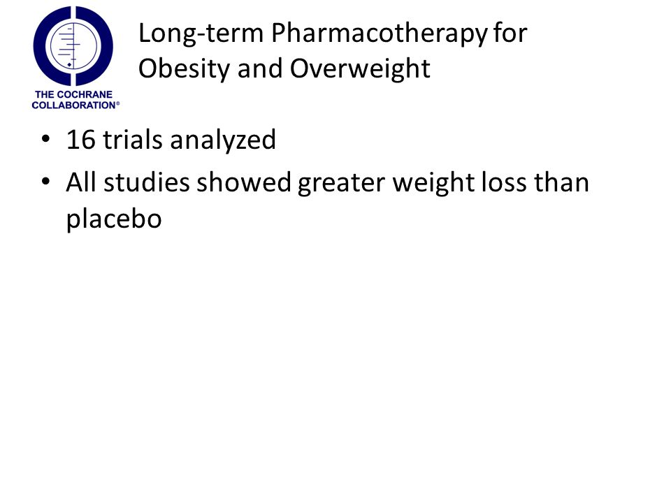 16 trials analyzed All studies showed greater weight loss than placebo Long-term Pharmacotherapy for Obesity and Overweight