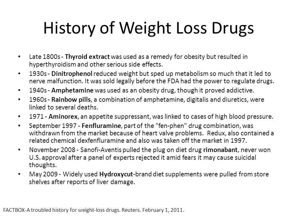 History of Weight Loss Drugs Late 1800s - Thyroid extract was used as a remedy for obesity but resulted in hyperthyroidism and other serious side effects.