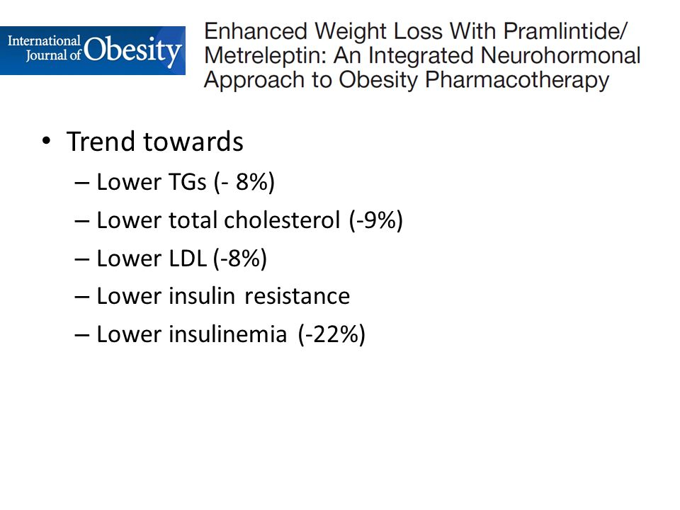 Trend towards – Lower TGs (- 8%) – Lower total cholesterol (-9%) – Lower LDL (-8%) – Lower insulin resistance – Lower insulinemia (-22%)