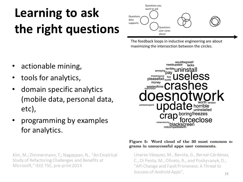 Learning to ask the right questions actionable mining, tools for analytics, domain specific analytics (mobile data, personal data, etc), programming by examples for analytics.